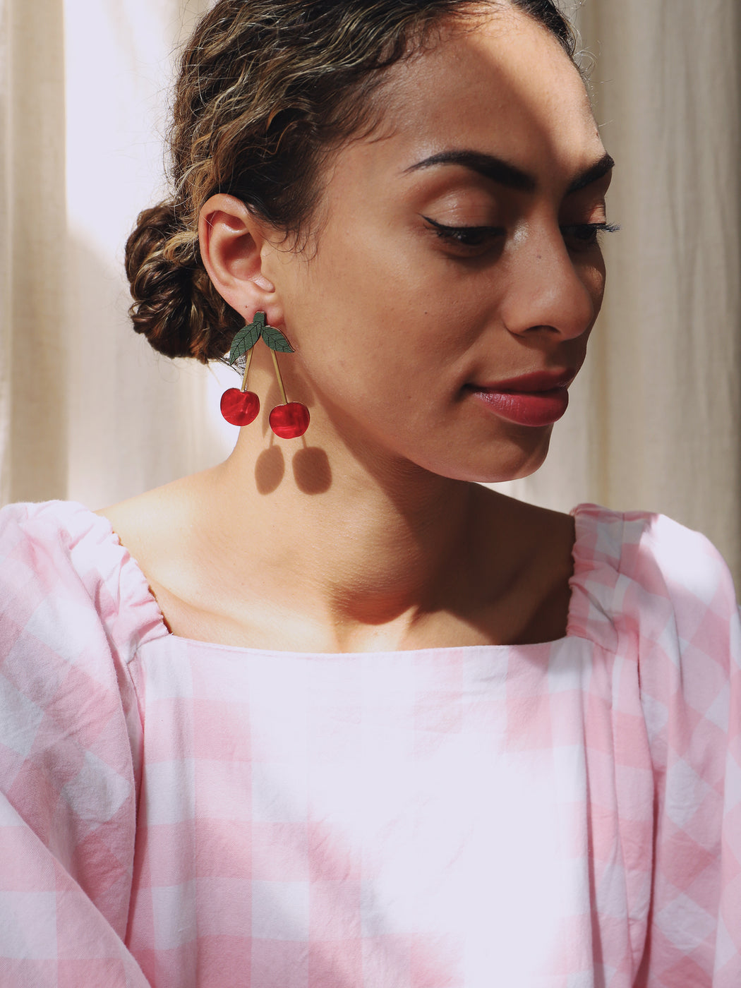 Cherry Earrings in Red