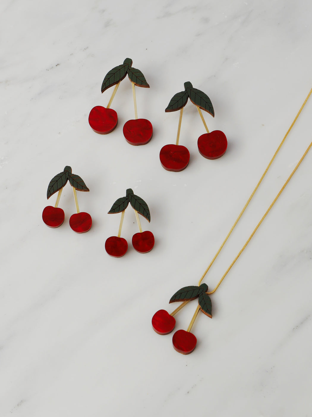 Cherry Necklace in Red