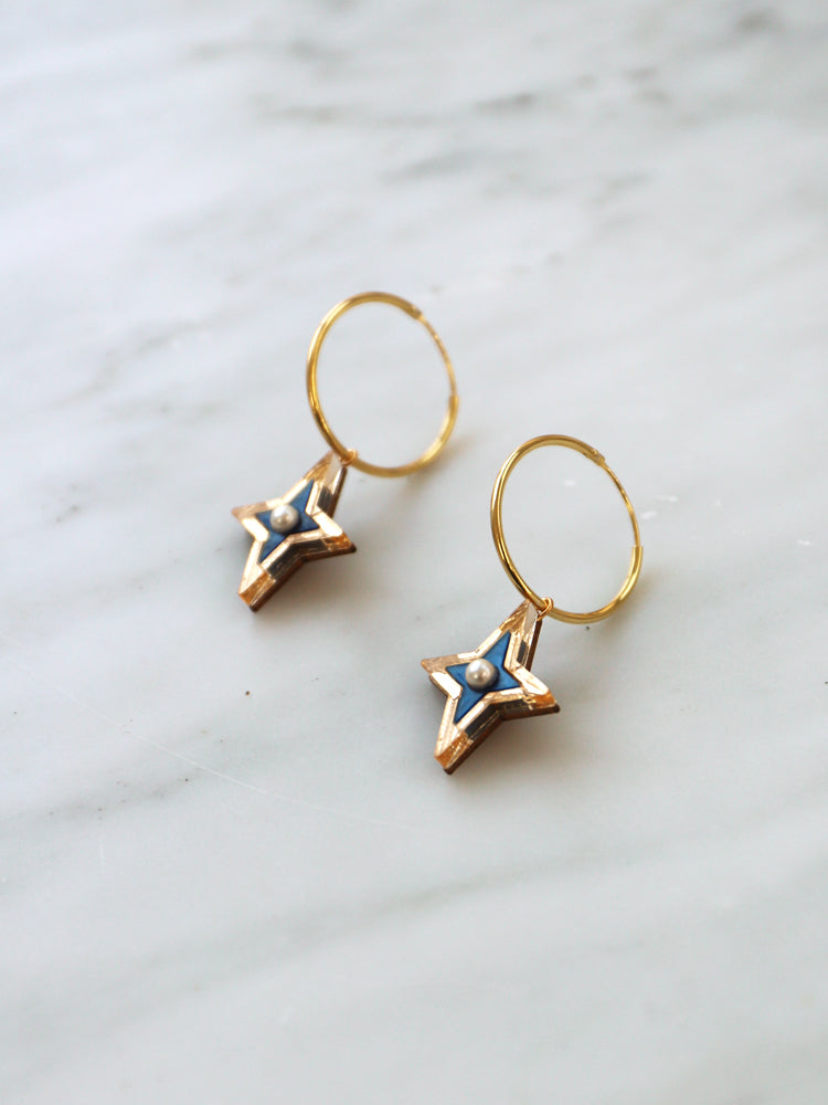 Limited Edition Constellation Hoops in Blue