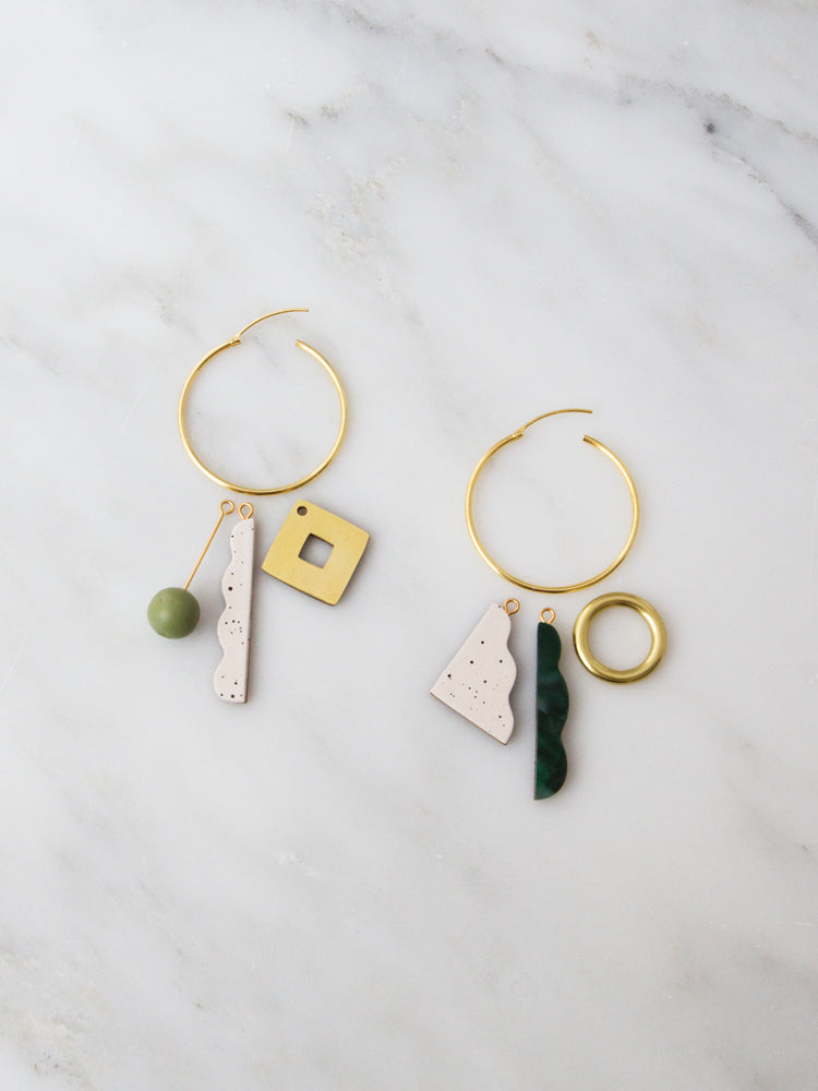Collage Charm Hoops in Green