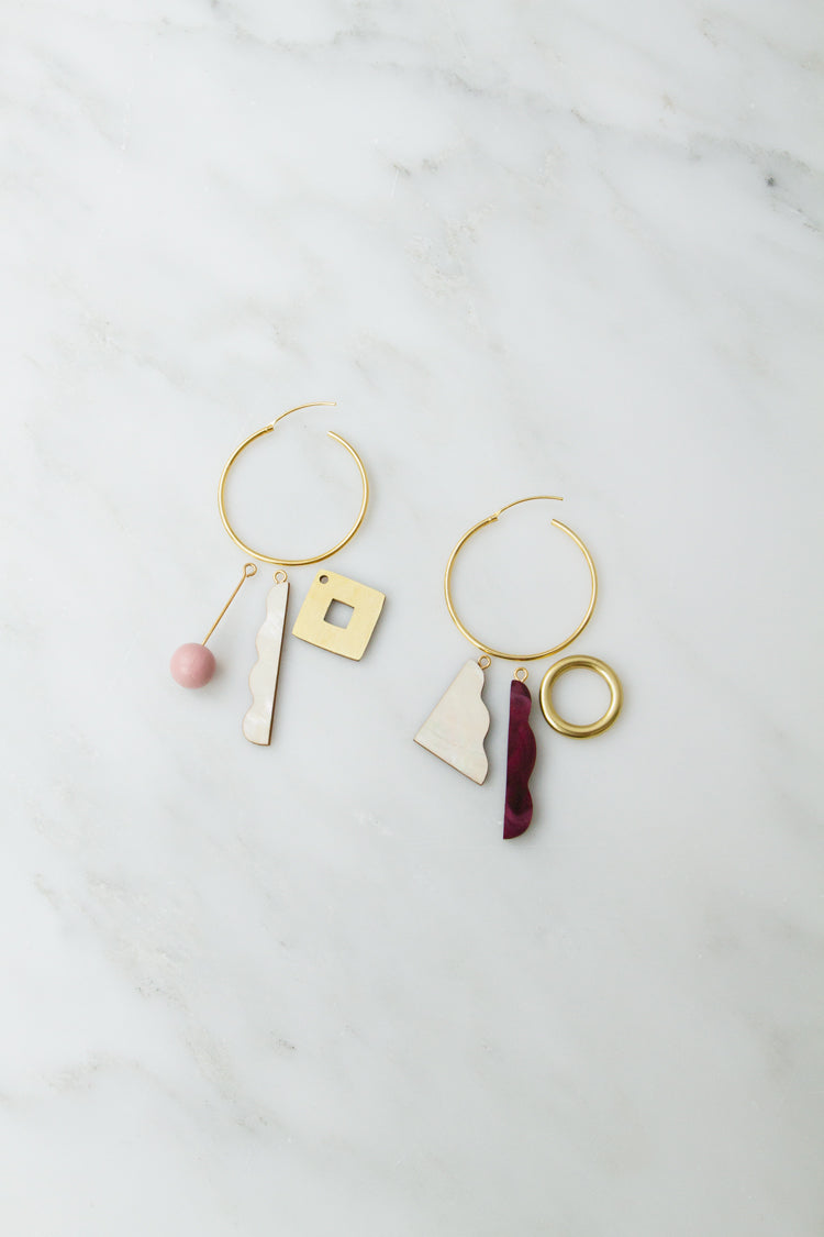 Collage Charm Hoops in Pink