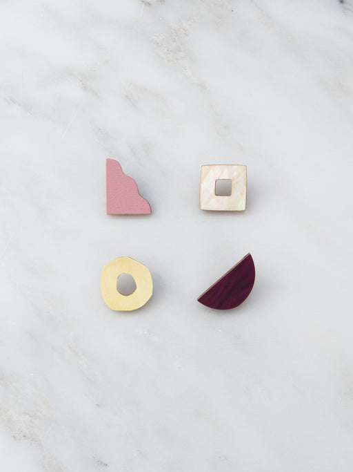 Collage Studs in Cherry