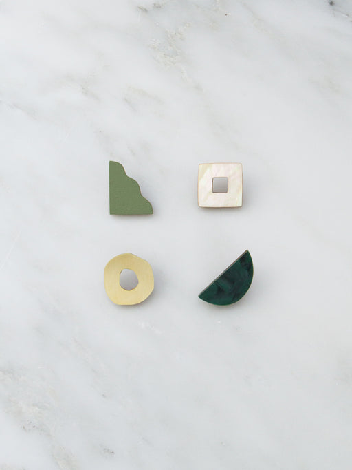 Collage Studs in Green Marble