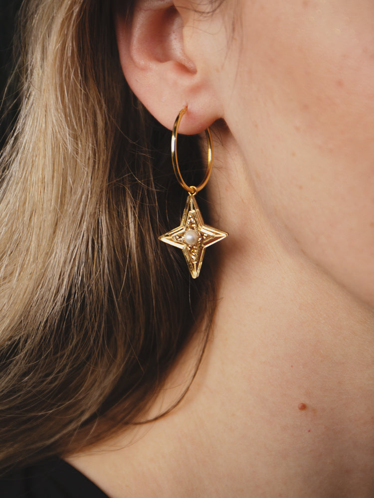 Limited Edition Constellation Hoops in Gold Glitter