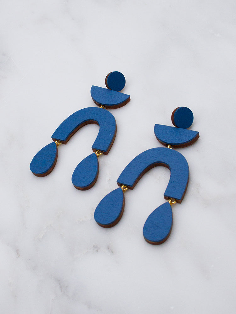 Corbero statement earrings in cobalt blue by Wolf & Moon