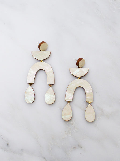 Corbero statement earrings in mother of pearl by Wolf & Moon