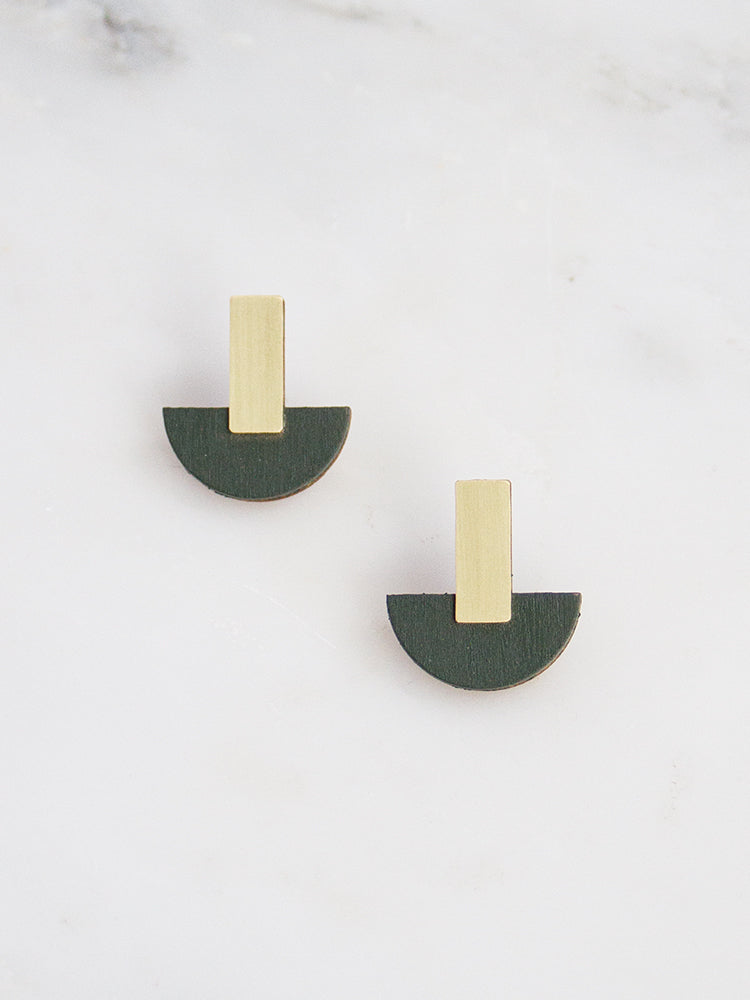 Crescent Studs in Spruce Green