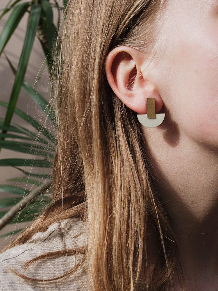 Crescent Studs in Mother of Pearl