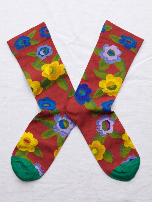 Crimson Flower Socks