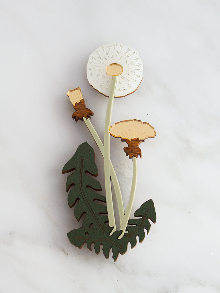 Dandelion Brooch | Original handmade statement jewellery by Wolf & Moon
