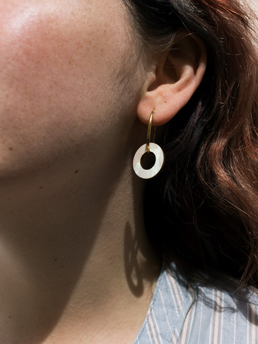 Disc Charm Hoops in Mother of Pearl