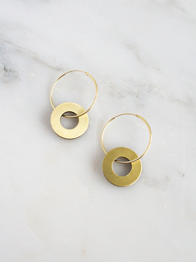 Disc Charm Hoops in Brushed Brass