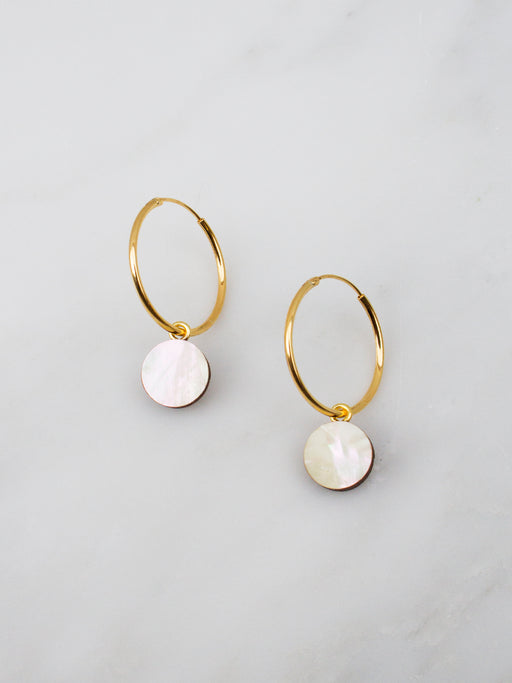 Dot Charm Hoops in Mother of Pearl