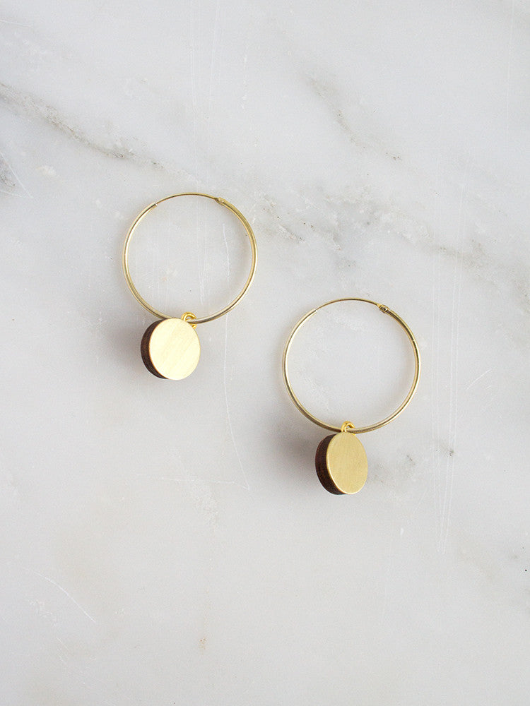 Dot Charm Hoops in Brushed Brass