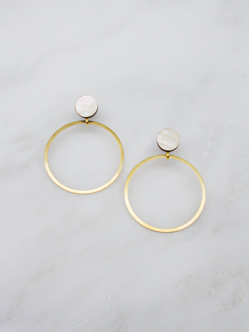 Dot Hoop Studs in Mother of Pearl