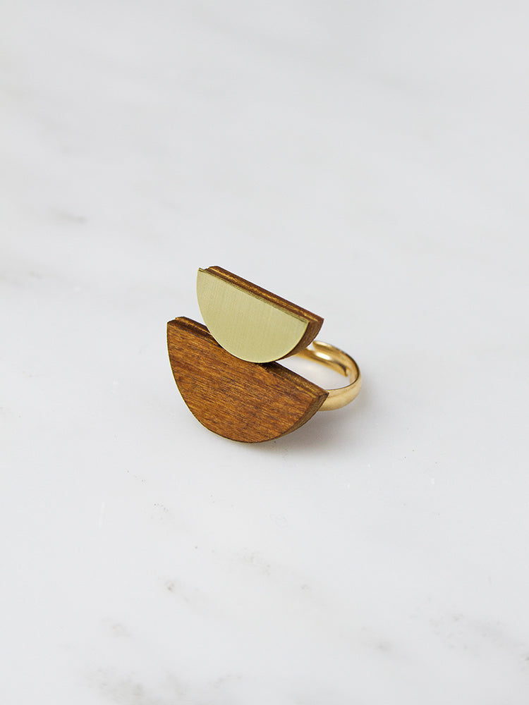 Wood Double Crescent Ring by Wolf & Moon