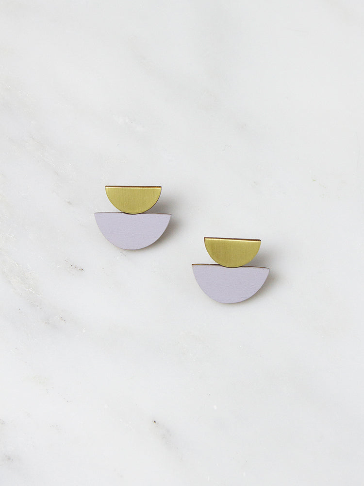 Lavender Double Crescent Studs by Wolf & Moon