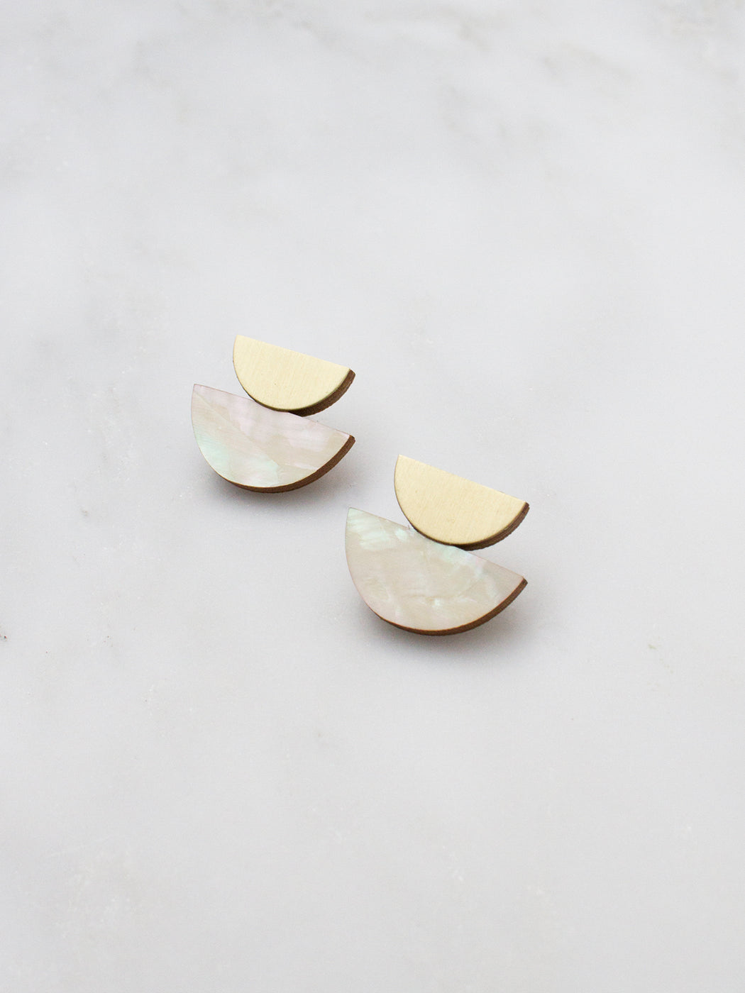 Double Crescent Studs in Mother of Pearl