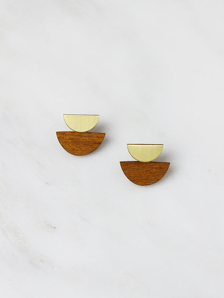 Wood Double Crescent Studs by Wolf & Moon