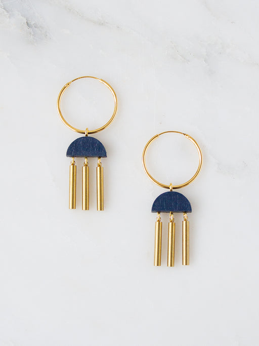 Dusk Hoops in Midnight Blue