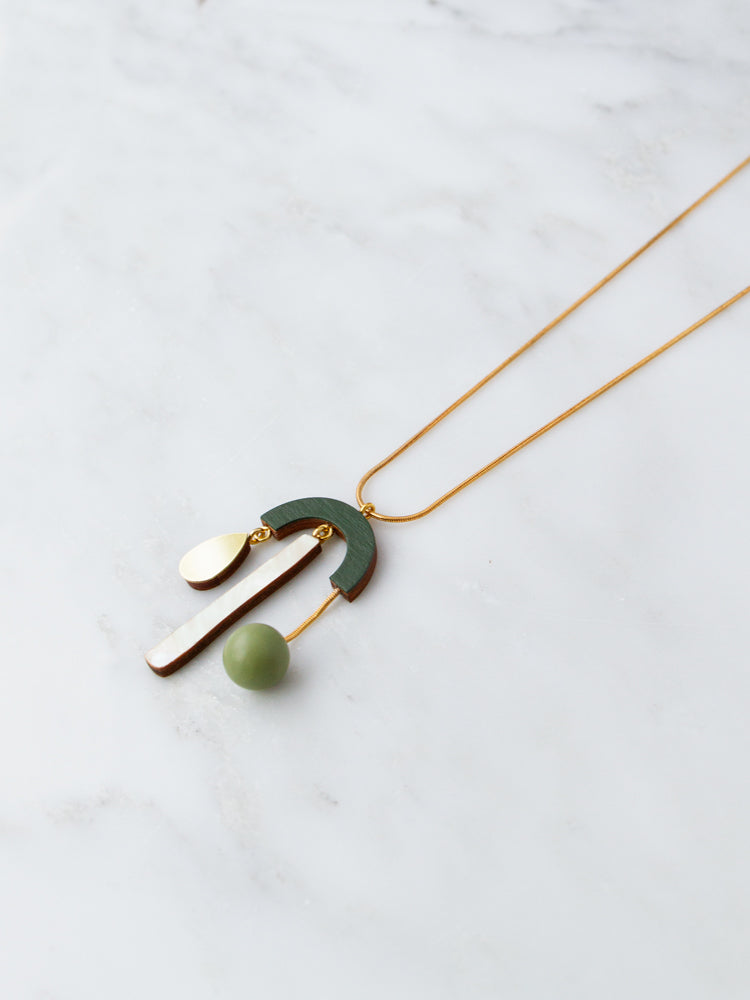 Ella Necklace in Spruce Green