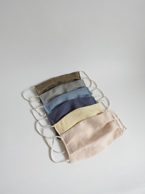 Natural Dyed Linen Face Mask - Navy