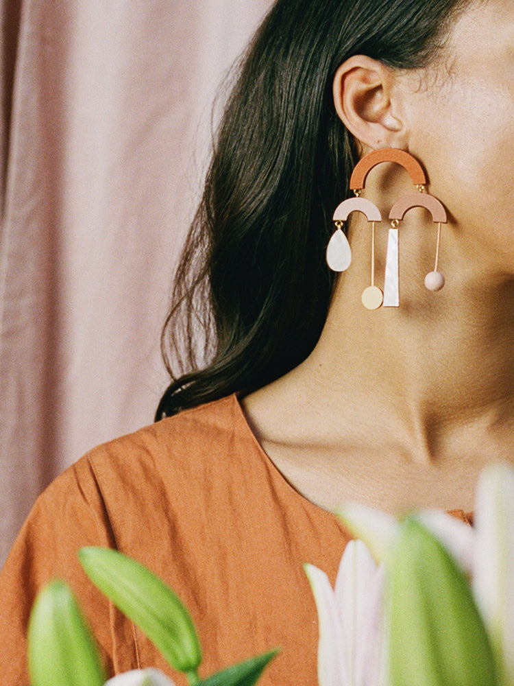 Fountain Earrings in Burnt Orange