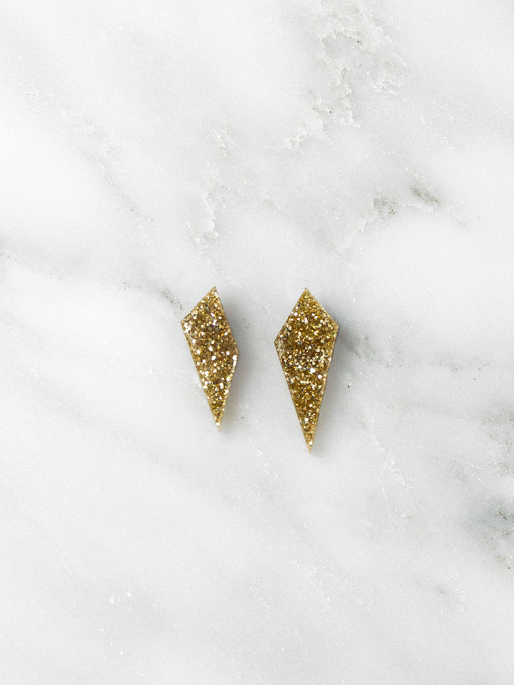 Mini Shard Studs in Gold Glitter