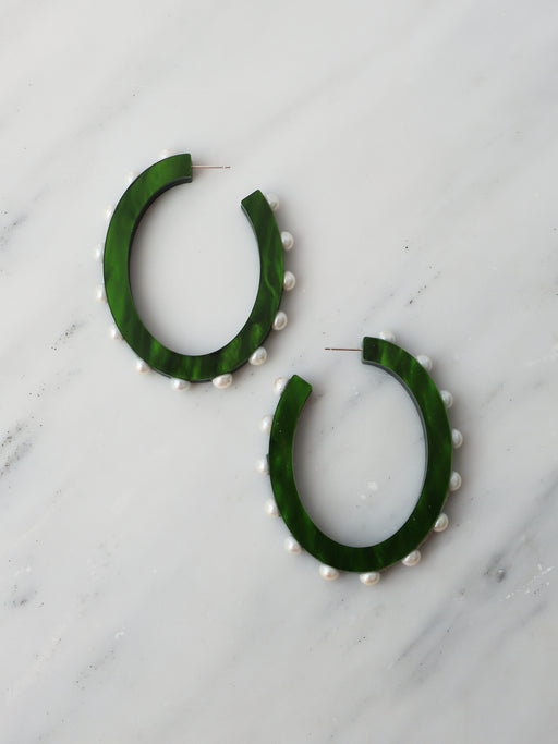Grace Hoops in Emerald