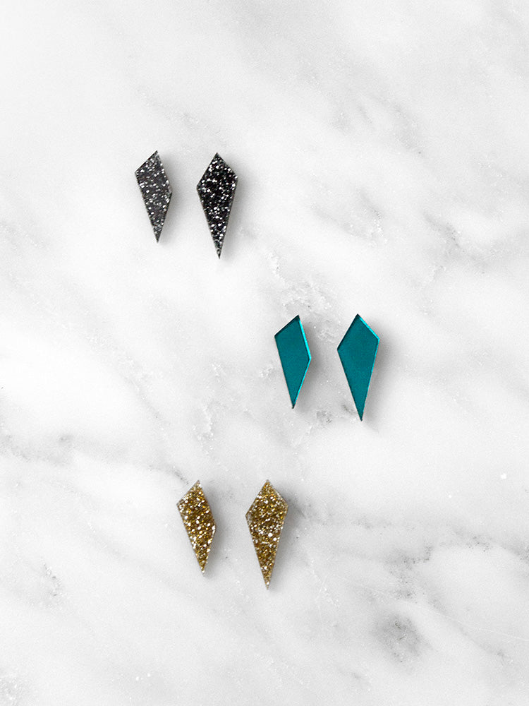 Mini Shard Studs in Black Glitter