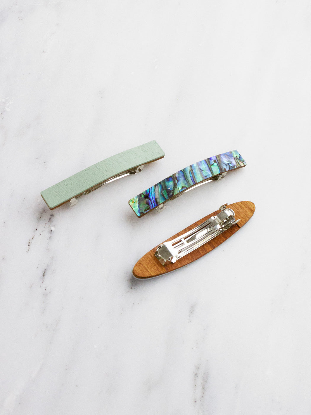 Set of 3 Hair Clips - Pale Blue
