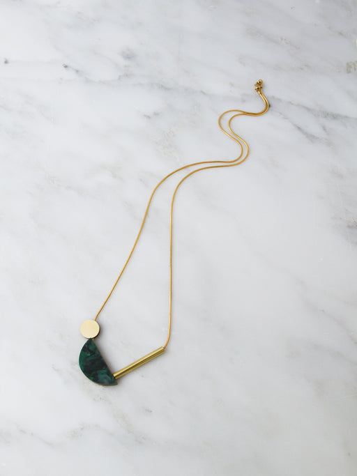 Half Circle Collage Necklace in Green Marble