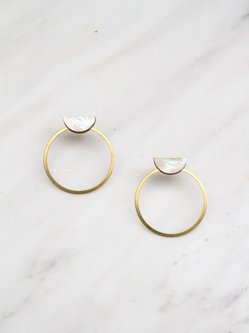 Half Circle Hoop Studs in Mother of Pearl