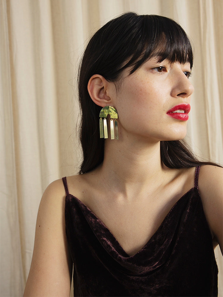 Ingrid Earrings in Olive Mother of Pearl