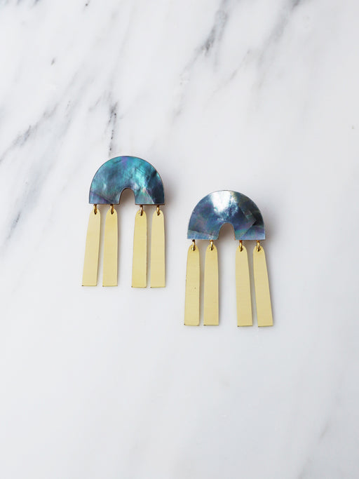Ingrid Earrings in Blue Mother of Pearl