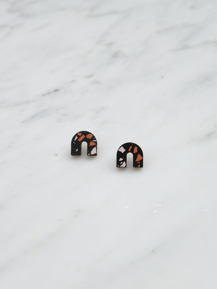 Sanna Studs in Black Jesmonite