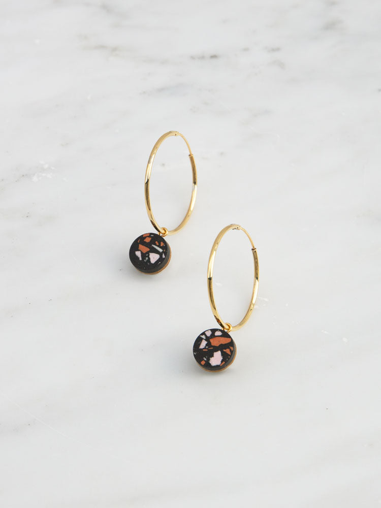 Malin Hoops in Black Jesmonite