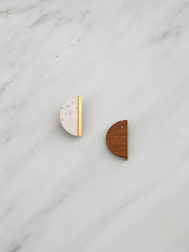 Juni Studs in Natural Jesmonite