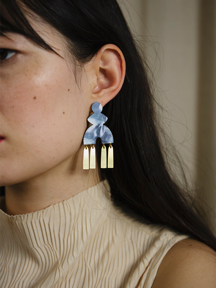 Kala Earrings in Blue Mother of Pearl