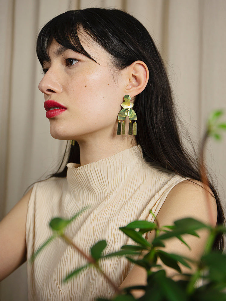 Kala Earrings in Olive Mother of Pearl