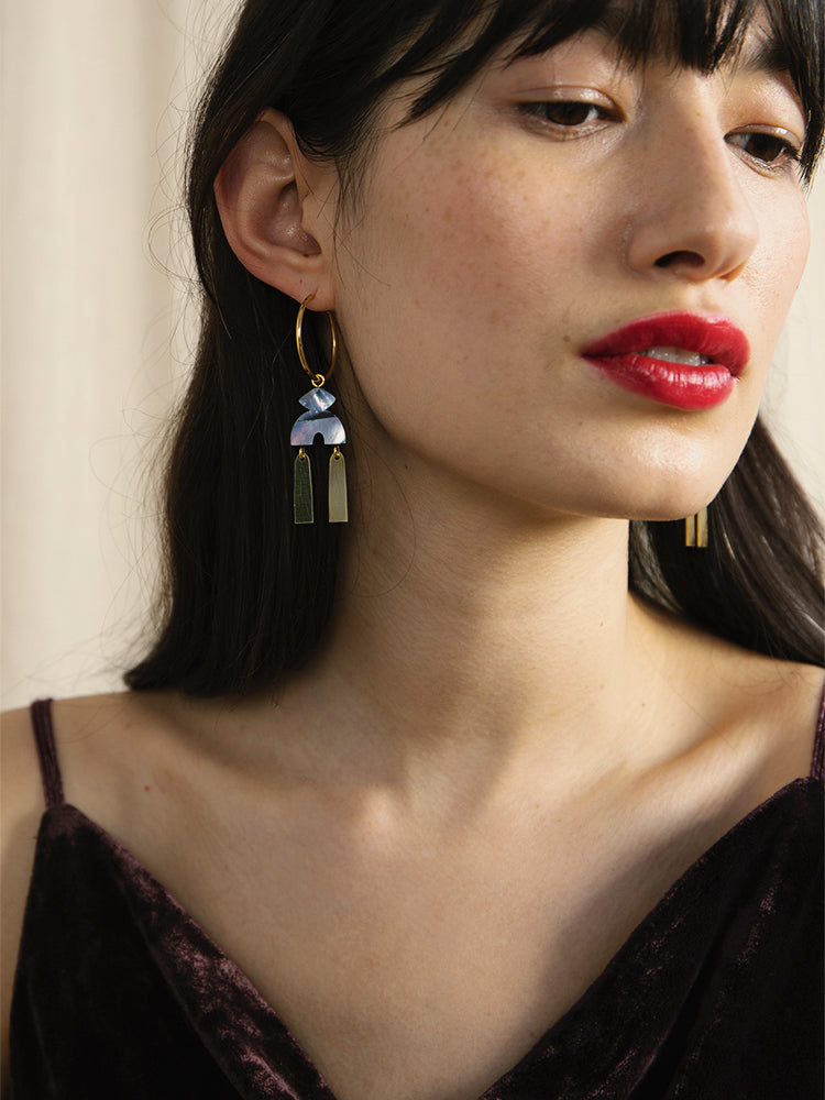 Kala Hoops in Blue Mother of Pearl