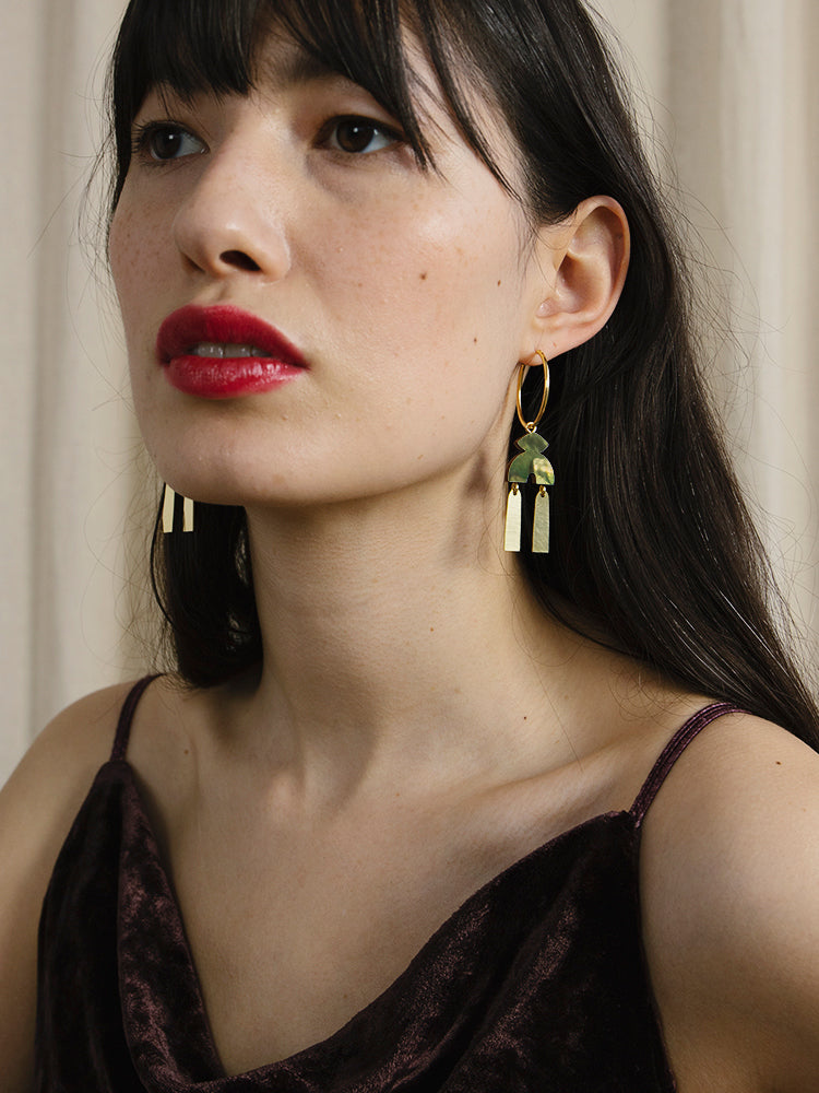 Kala Hoops in Olive Mother of Pearl