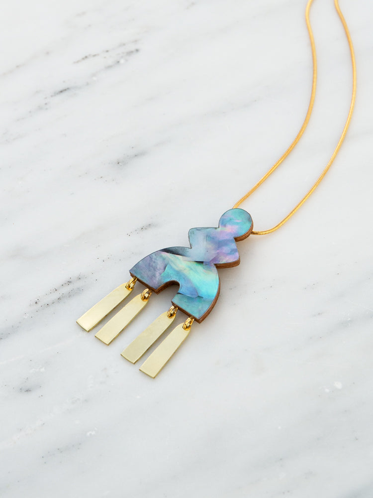 Kala Necklace in Blue Mother of Pearl