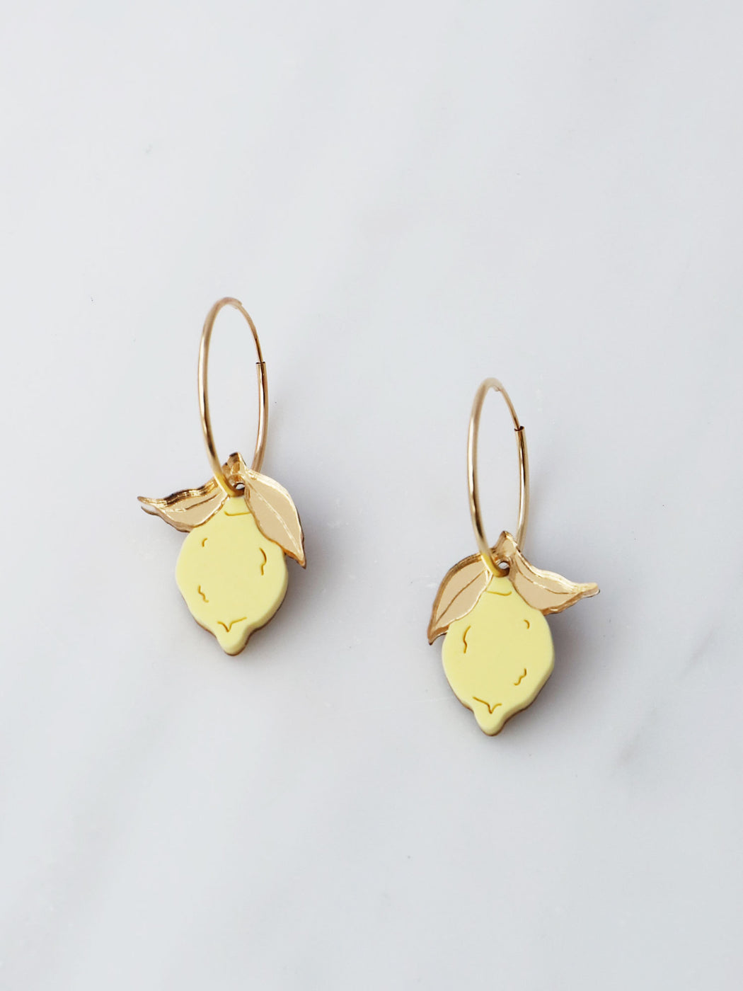 Mini Lemon Hoops. Statement jewellery, handmade in the U.K. by Wolf & Moon.r