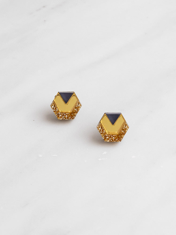 Little Hex Studs in Gold
