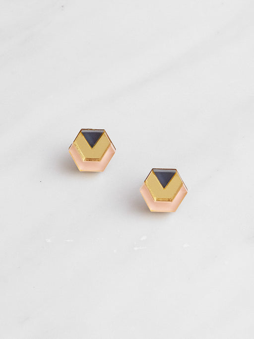 Little Hex Studs in Navy & Peach