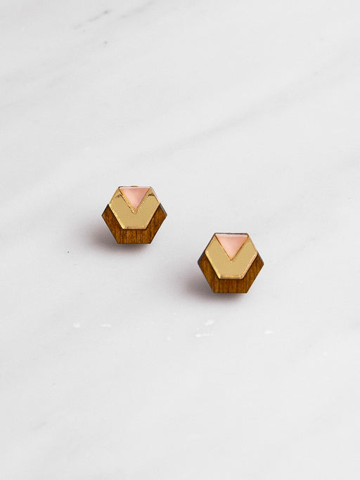 Little Hex Studs in Wood & Peach
