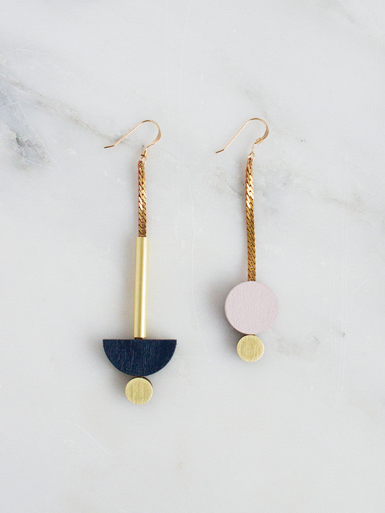 Luna Drop Earrings in Midnight Blue