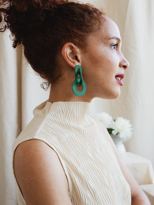 Margot Earrings in Forest Green
