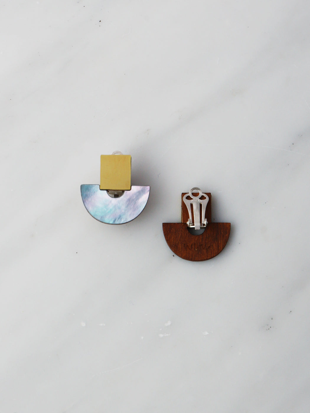 Marina Studs in Blue Mother of Pearl - Clip-on